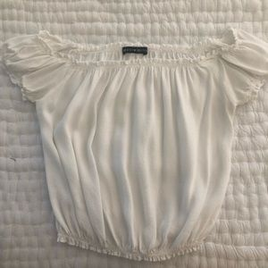 Brandy Melville white off the shoulder crop top